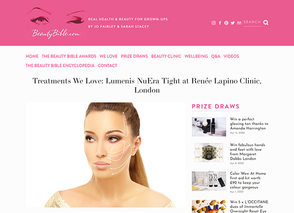 Beauty Bible - Treatments We Love Lumenis NuEra Tight at Renee Lapino Clinic London