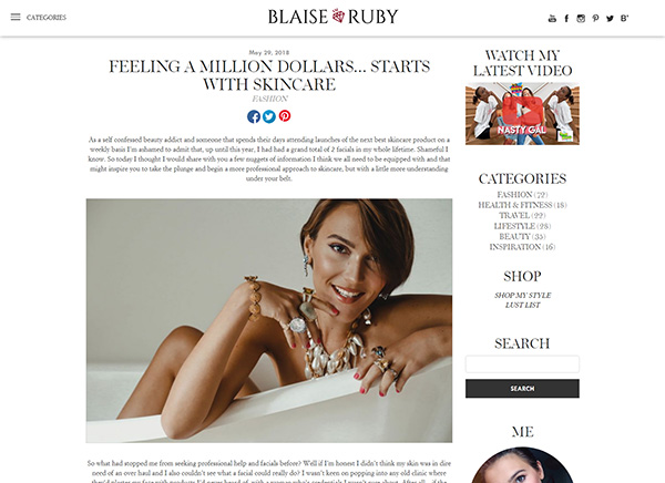 Blaise Ruby - Feeling a Million Dollars Starts With Skincare