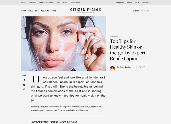 Citizen Femme Top Tips for Healthy Skin on the go by Expert Renee Lapino
