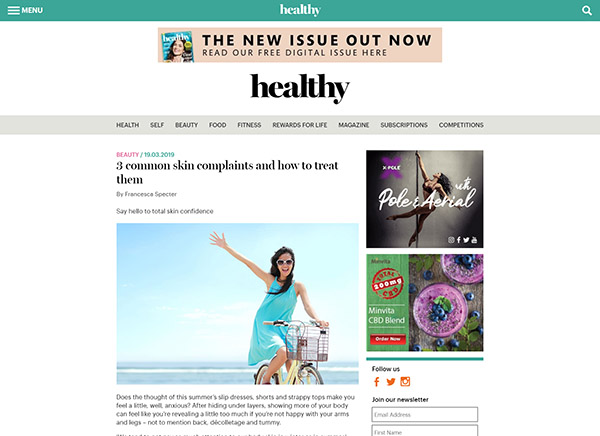 Healthy Magazine - 3 common skin complaints and how to treat them