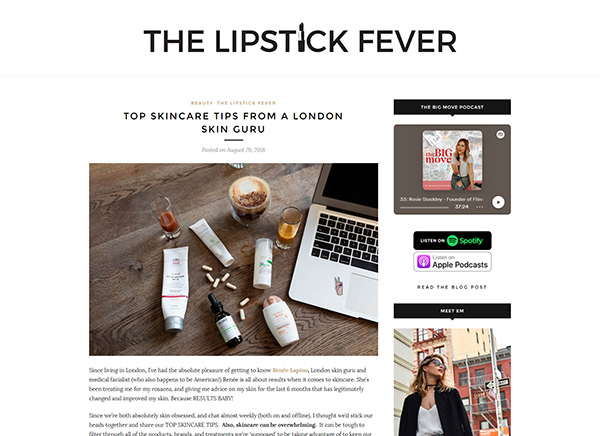 The Lipstick Fever - Top Skincare Tips From a London Skin Guru